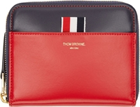 Thom Browne Red And Navy Leather Zip Around Wallet