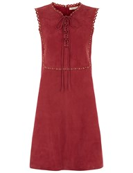 Vanessa Bruno Burgundy Suede Eyelet Edane Dress Red