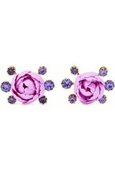 Elizabeth Cole Woman Xenia 24 Karat Gold Plated Resin And Crystal Earrings Lavender