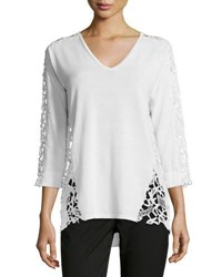 Magaschoni 3 4 Sleeve Lace Inset Sweater Blanc