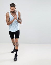 Religion Longline Tank In Blue With Curved Hem And Distressing Blue
