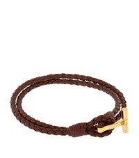 Tom Ford Double Wrap T Leather Bracelet Unisex Brown