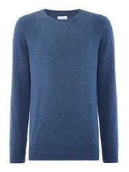 Peter Werth Bryson Fine Knitted Cotton Crew Neck Blue