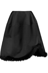 Simone Rocha Asymmetric Feather Trimmed Duchesse Satin Skirt Black