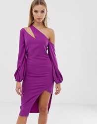 Lavish Alice One Shoulder Balloon Sleeve Midi Dress Purple