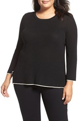 Vince Camuto Plus Size Women's Tipped Pullover Rich Black