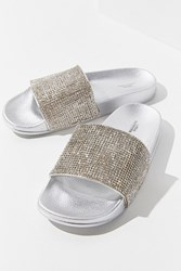 Urban Outfitters Uo Rhinestone Pool Slide Silver