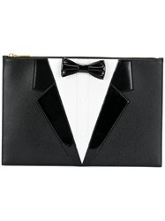 Thom Browne Dinner Suit Clutch Calf Leather Patent Leather Black