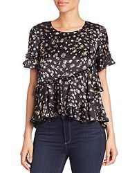 Cinq Sept Hydra Silk Floral Print Peplum Top Midnight