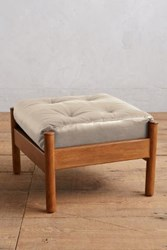 Anthropologie Premium Leather Alvorada Ottoman Ivory