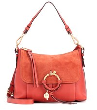 See By Chloe Joan Small Leather And Suede Crossbody Bag Red