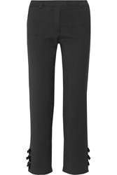 Paul And Joe Defile Milene Appliqued Stretch Ponte Straight Leg Pants Black