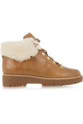 Michael Michael Kors Putnam Shearling Trimmed Leather Ankle Boots Tan