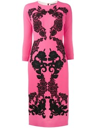 Dolce And Gabbana Rose Embroidered Crepe Dress Pink And Purple