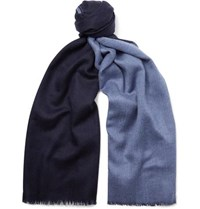 Johnstons Of Elgin Reversible Fringed Cashmere Scarf Blue