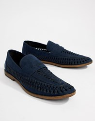 New Look Faux Suede Loafers In Navy