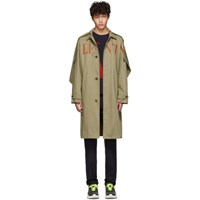 Valentino Beige And Red Vlogo Trench Coat