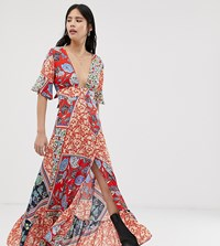 Kiss The Sky Maxi Dress With Thigh Splits In Mixed Print Multi