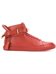 Buscemi Buckled Hi Top Sneakers Men Leather Rubber 39 Red