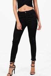 Boohoo Slit Knee Destroyed Hem Skinny Jeans Black