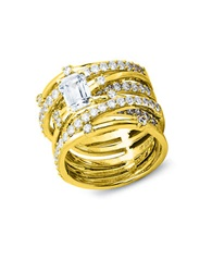 Crislu Center Stone Cubic Zirconia Sterling Silver And 18K Yellow Gold Abby Stack Ring