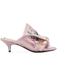 N 21 No21 Abstract Bow Embroidered Mules Pink And Purple