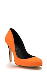 Women's Shoes Of Prey Round Toe Leather Pump Neon Orange
