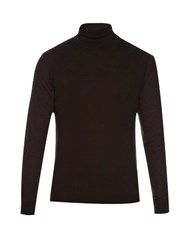 Lanvin Contrast Sleeve Wool Blend Sweater Black