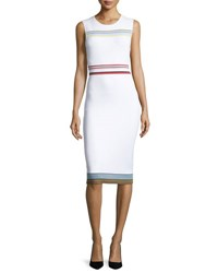 Diane Von Furstenberg Ribbon Knit Sleeveless Sheath Dress Ivory