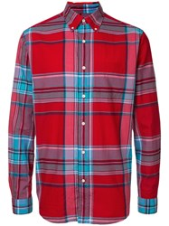 Gant Rugger Madras Check Shirt Men Cotton M Red