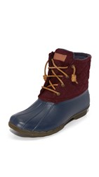 Sperry Saltwater Quilted Wool Booties Navy Maroon
