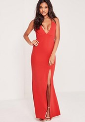 Missguided V Plunge Strappy Maxi Dress Red