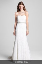 Bliss Monique Lhuillier Women's Strapless Lace Wedding Dress With Beaded Waist Ivory