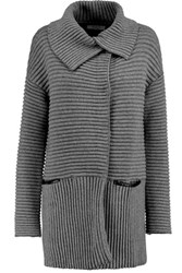 Bailey 44 Cornell Ribbed Cotton Blend Cardigan Dark Gray