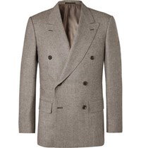 Kingsman Brown Double Breasted Prince Of Wales Checked Wool Suit Jacket