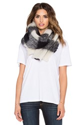Scotch And Soda Brushed Chunky Scarf In Multicolour Checks Black And White