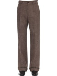 Gucci 27Cm Wool Loose Trousers Brown
