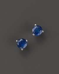 Bloomingdale's Sapphire Stud Earrings In 14K White Gold Blue