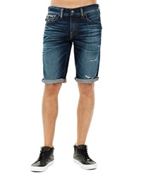 True Religion Ricky Flap Pocket Rolled Cuff Denim Shorts Dark Blue