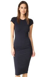 James Perse Classic Short Sleeve Skinny Dress French Navy