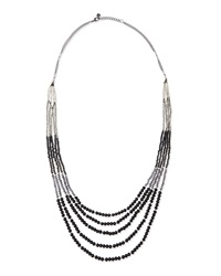 Nakamol Beaded Multi Strand Tiered Necklace Black Mix Gunmetal