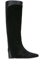 Lanvin Pull On Contrast Panel Boots Black