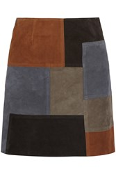 Mih Jeans Patchwork Suede Mini Skirt Brown