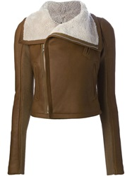 Rick Owens Shearling Lined Biker Jacket Nude And Neutrals
