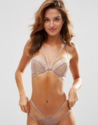 Asos Marilyn Lace Moulded Strappy Plunge Bra Mink Pink