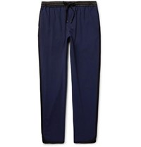 Public School Ilyn Tapered Striped Stretch Wool Trousers Navy