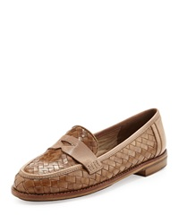 Sesto Meucci Nattie Woven Leather Loafer Camel