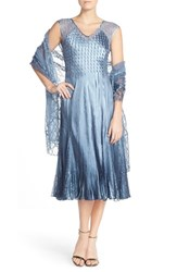 Women's Komarov Lace Accent Chameuse A Line Dress And Chiffon Shawl