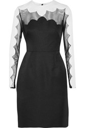 Mikael Aghal Paneled Tulle And Canvas Dress Black