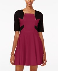 Xoxo Juniors' Colorblocked Fit And Flare Dress Red Black